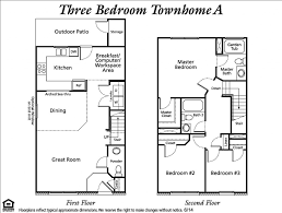 One Bedroom Townhouse Three Bedroom Townhouse Floor Plans Photos And