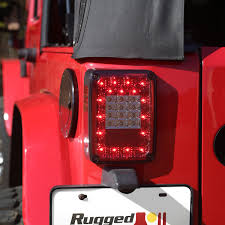Jeep Tj Led Tail Lights Rugged Ridge 12403 88 Led Tail Light Kit In Smoked For 07 17 Jeep