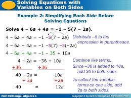 solving equations with variables on both sides ppt video online