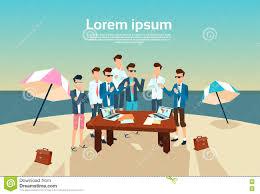 M El Schreibtisch Geschäftsleute Gruppen Schreibtisch Arbeitsstrand Sommer Vektor