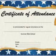 perfect attendance award certificate template for attending summer