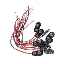 jetting 10pcs 9v battery clips 15cm black red cable connection