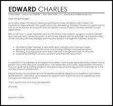 hr advisor cover letter sample livecareer