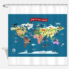 Shower Curtain World Map World Map Kids Shower Curtains Cafepress