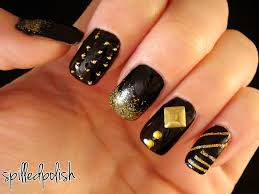 perfect nail designs in black and golden glitter trendy mods com