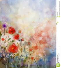 watercolor painting spring floral background stock illustration