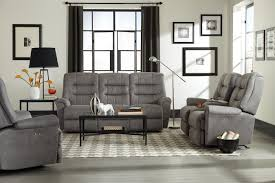casual power rocking reclining loveseat with cupholder and storage