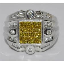 mens rings with images Yellow diamond ring with white diamond mens 14k white gold jpg