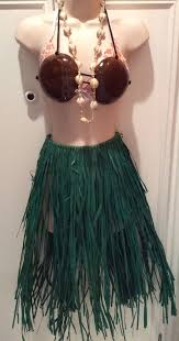 Coconut Halloween Costume Hawaiian Hula Halloween Cosplay Costume Grass Skirt Coconut