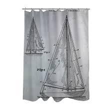 Sailboat Shower Curtains Sailboat 1938 Blueprint Shower Curtain Patent Housewares