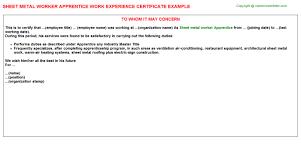 Roofing Job Description Resume by Sheet Metal Worker Apprentice Job Title Docs