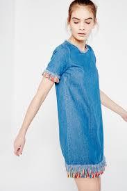 u0026 delicious denim mini dress with multi frayed hem shop from