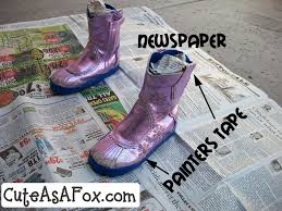 spray painted boots