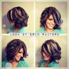 chunky highlights medium length bob wavey curls short hair