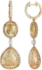 gold drop earrings 14k gold fancy colored diamond slice drop earrings 12 24ct
