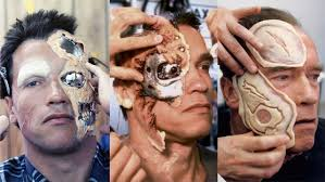 arnold schwarznegger having his prosthetics u0026 make up