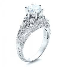 micropave milgrain engraved engagement ring vanna k