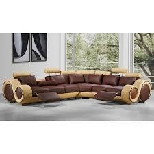 Brown Leather L Shaped Sofa Renaissance Brown Beige Leather L Shaped Sofa With Rounded