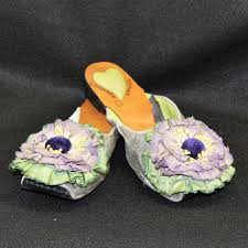 womens shoes mules slippers gray velvet with purple and green