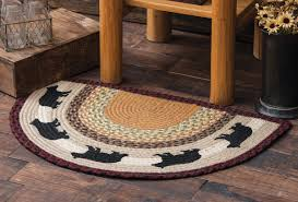 braided rug wildlife rugs black half braided rug black forest decor