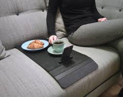 couch arm coffee table wood sofa arm tray table with rubber surface for non slip or