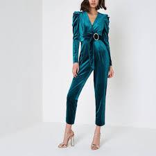 blue velvet jumpsuit lyst river island turquoise blue puff shoulder velvet jumpsuit