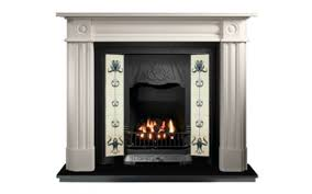 any black tiled insert and roundel limestone fireplace