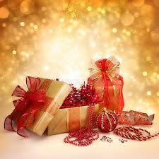 gifts and decorations in gold and stock photo
