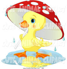 vector clip art of a smiling cute yellow duckling strolling under