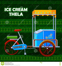 indian cart indian ice cream cart representing colorful india stock vector