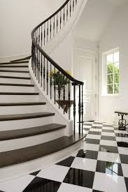 Stone Banister White Round Spindles Staircase Traditional With Curling Banister