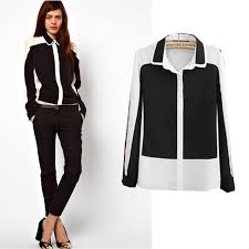 black and white blouse white blouse with black collar