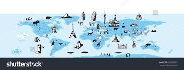 Map Of Thr World by Landmark Animals Map World Vector Illustration Stock Vector