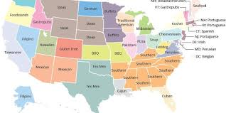 Map Of The Southern United States by Here Is The Most Disproportionately Popular Cuisine In Each State