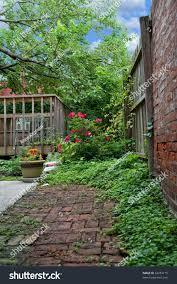 brick pathway leads beautiful backyard garden stock photo 62454175