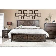 Walnut Bed Frames Furniture Of America Hilande Rustic Farmhouse Walnut Bed