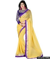 yellow color combination women chiffon yellow colour embroidey designer saree