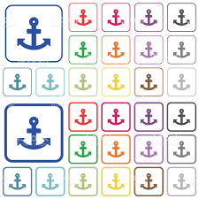 anchor color outlined flat icons stock vector art 682336970 istock