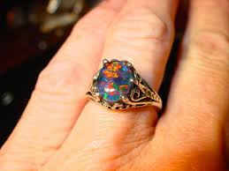 etsy rings black images Black opal wedding rings 36 most unique opal engagement rings from jpg