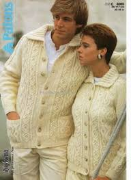 vintage men u0027s aran style cardigan sweater knitting pattern