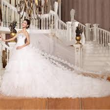 wedding dresses with long trains for fashionable bride