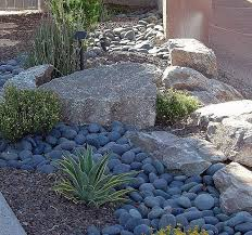 blue landscape rocks front yard redo in foothills phoenix yards