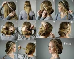 Hochsteckfrisurenen Glatte Haare Selber Machen by Lockerer Chignon Mit Haarband Und Haarklammern Selber Machen