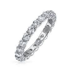 eternity wedding bands stackable clear cz eternity wedding band ring sterling silver