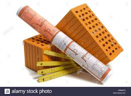 brick and plan for house building stock photo royalty free image
