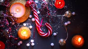 New Year Food Decorations christmas holiday background with candy cane decorations candles