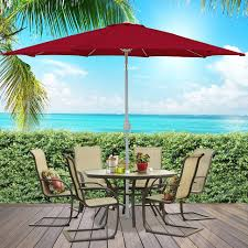 Red Rectangular Patio Umbrella Outdoor 11 Ft Black Patio Umbrella Off Center Patio Umbrella