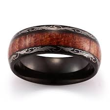 mens wedding bands wood caperci men s 8mm vintage dome wood black tungsten carbide ring