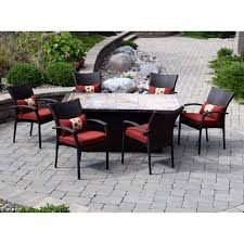 Patio Dining Set With Fire Pit - belham living tulie 7 piece aluminum fire pit patio dining set