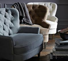 Upholstered Armchair by Cardiff Tufted Upholstered Armchair Grey Pottery Barn Au